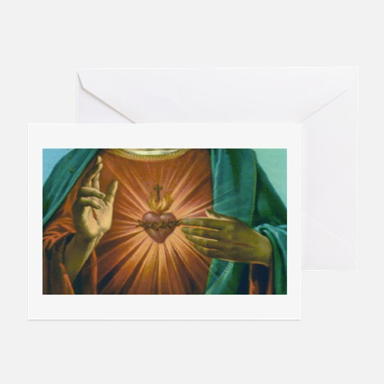 Sacred Heart 2 Greeting Cards (Pk of 10)