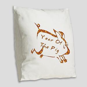 Running Pig Burlap Throw Pillow