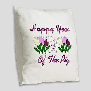 Tulip Pig Burlap Throw Pillow