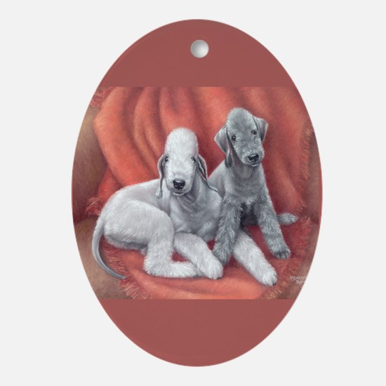 Bedlington Puppy Love Oval Ornament