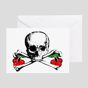 Rockabilly Cherries, Skull & Crossbones Greeting C