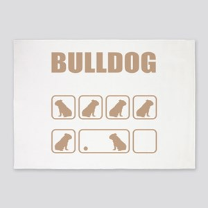 Stubborn Bulldog Tricks design 5'x7'Area Rug