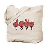 Captioned LOVE Tote Bag