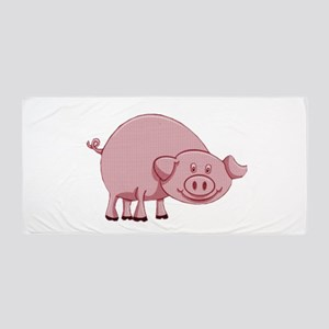 Happy Pink Pig Beach Towel