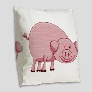 Happy Pink Pig Burlap Throw Pillow
