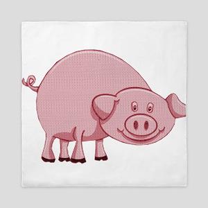 Happy Pink Pig Queen Duvet