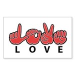 Captioned LOVE Rectangle Sticker 50 pk)