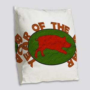 Year Of The Boar Burlap Throw Pillow