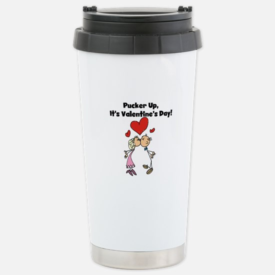 Pucker Up Valentine Stainless Steel Travel Mug