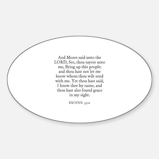 EXODUS 33:12 Oval Decal