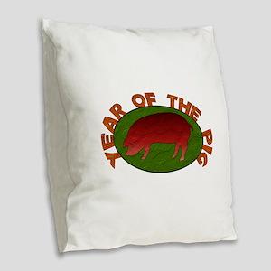 Year Of The Pig Burlap Throw Pillow