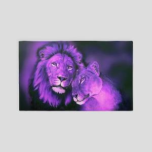 Lions Purple Area Rug