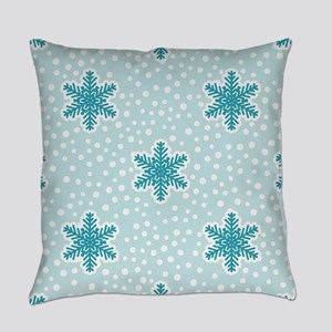 Teal Blue Snowflakes Everyday Pillow
