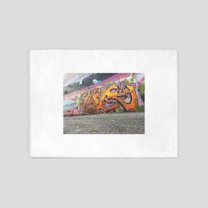Orange graffiti 5'x7'Area Rug