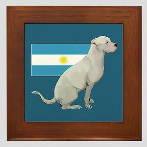 Dogo with Flag Framed Tile