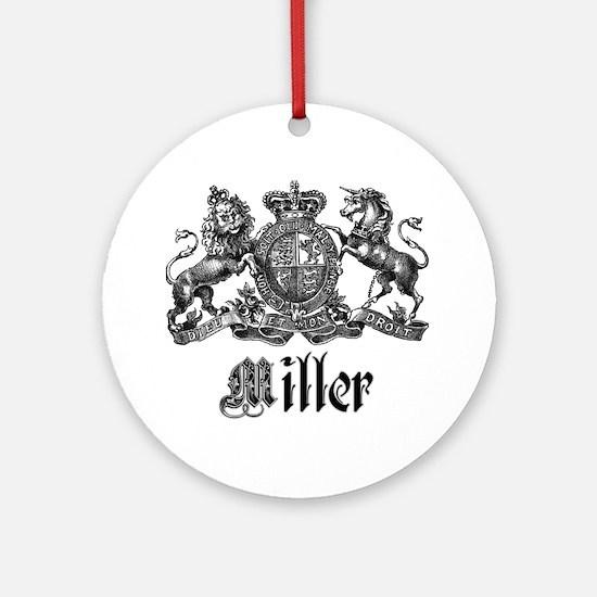 Miller Vintage Crest Family Name Ornament (Round)