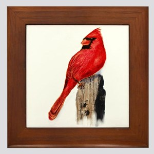 Cardinal on Post Framed Tile