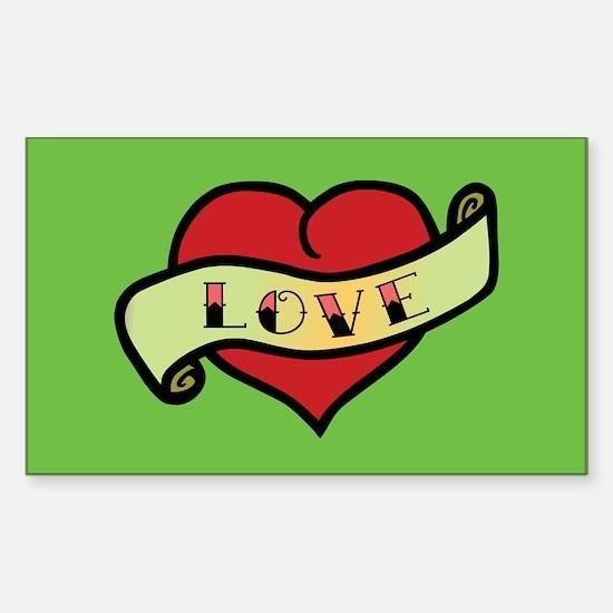 Love Tattoo Heart Rectangle Decal