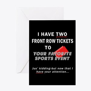 2 TICKETS TO SPORTS EVENT Greeting Card (For Him)