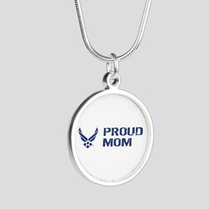 USAF: Proud Mom Silver Round Necklace