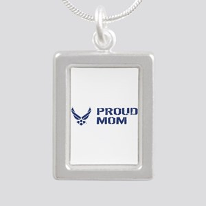 USAF: Proud Mom Silver Portrait Necklace