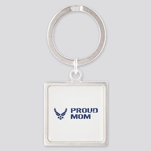 USAF: Proud Mom Square Keychain