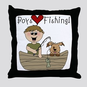 Boys Love Fishing Throw Pillow