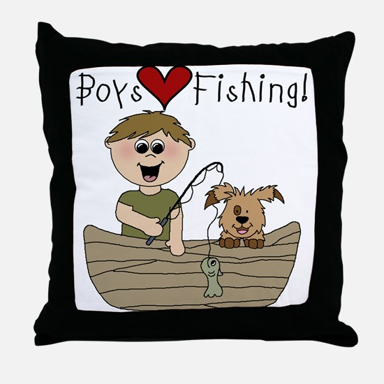 Boys Love Fishing Throw Pillow