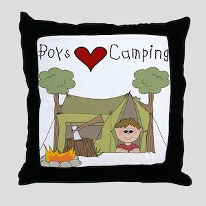 Boys Love Camping Throw Pillow