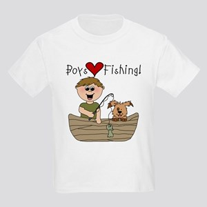 Boys Love Fishing Kids Light T-Shirt