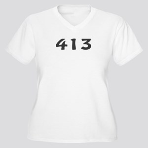 413 Area Code Women's Plus Size V-Neck T-Shirt