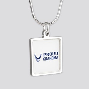 USAF: Proud Grandma Silver Square Necklace