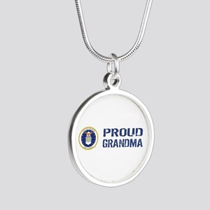 USAF: Proud Grandma Silver Round Necklace