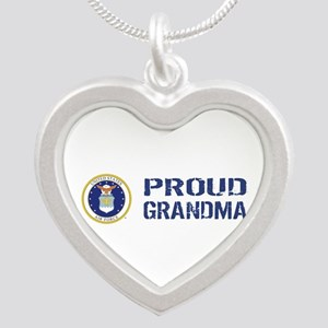 USAF: Proud Grandma Silver Heart Necklace