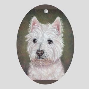 Westie (head study) Oval Ornament