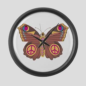 Peace Moth Large Wall Clock