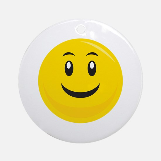 Yellow Smiling Smiley Ornament (Round)