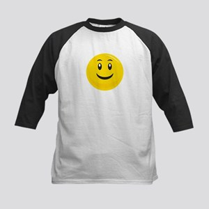 Yellow Smiling Smiley Kids Baseball Jersey