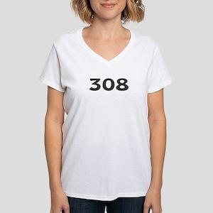308 Area Code Women's V-Neck T-Shirt