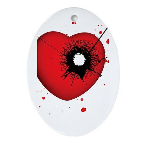 Bullet Hole Heart Oval Ornament