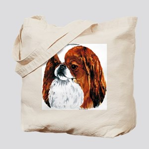 Japanese Chin Red Portrait Tote Bag