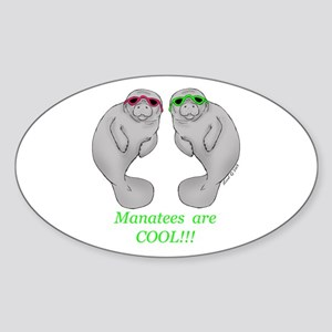 Cool Manatee Oval Sticker
