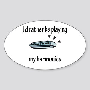 Playing My Harmonica Oval Sticker