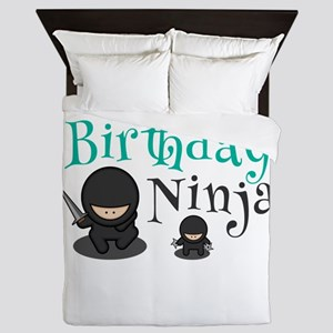Cute Birthday Ninja Martial Arts Artis Queen Duvet