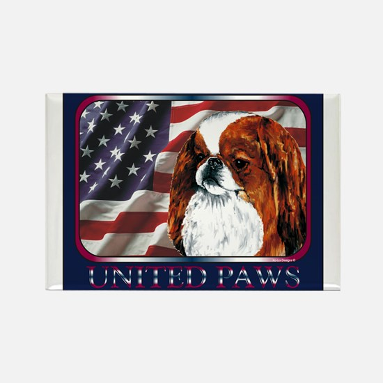 Red Japanese Chin USA Flag Rectangle Magnet