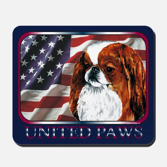 Red Japanese Chin USA Flag Mousepad