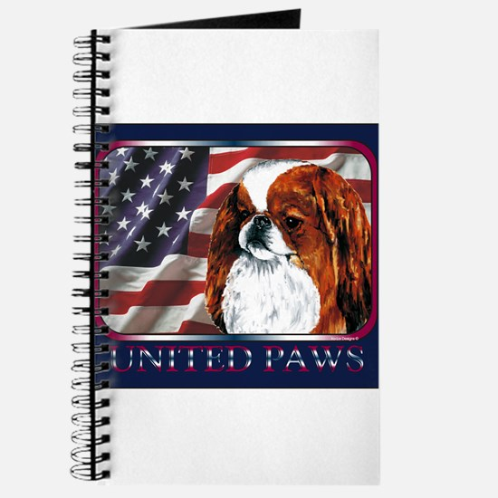 Red Japanese Chin USA Flag Journal