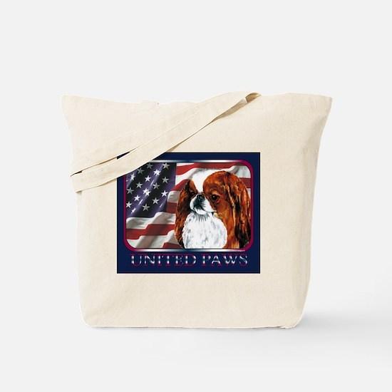 Red Japanese Chin USA Flag Tote Bag