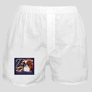 Red Japanese Chin USA Flag Boxer Shorts