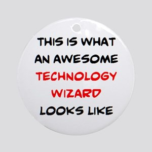 awesome technology wizard Round Ornament